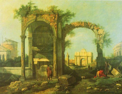 CAPRICCIO ARCHITETTONICO CON ROVINE ED EDIFICI CLASSICI – Giovanni Antonio Canal, detto il Canaletto